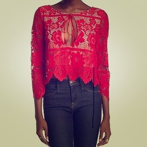❣️For Love & Lemons Red Lace Top❣️